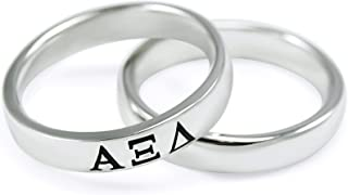 Alpha Xi Delta Sorority Inspired Sterling Silver Skinny Band Ring