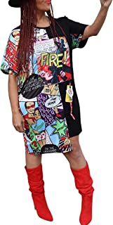 Womens Casual Short Puff Sleeve Digital Graffiti Print Loose Tunic T-Shirt Mini Dress