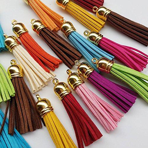 Chenkou Craft, 20 Stück, Mix Color, Handgemachte Quaste, Anhänger, Verkleidung, zum Basteln, 55 mm gold