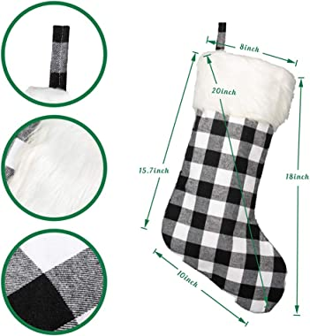 "SmileWay Christmas Stockings 4,18"", Buffalo Plaid Christmas Stockings with Plush Cuff, for Farmhouse Christmas Decor - Ch"