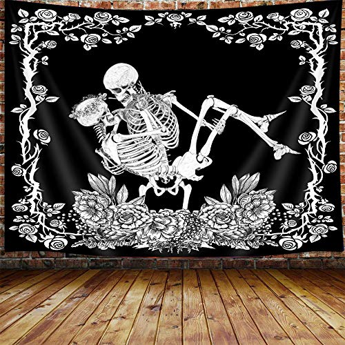 """JAWO Skull Small Tapestry for Men, Black and White Skeleton Trippy Tapestry Wall Hanging for Bedroom, Goth Flower Tarot Card Aesthetic Tapestry Beach Blanket College Dorm Home Decor (60"""" W X 40"""" H)"""