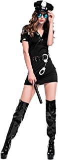 Quesera Women's Cop Costume Police Uniform Halloween Outfit for Adult with Handcuff, Baton, Belt