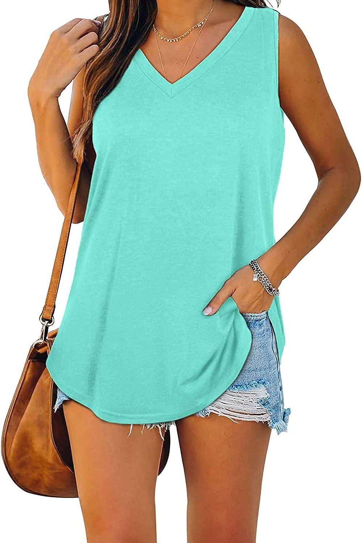 POLLYANNA KEONG Womens Tank Tops Plus Size,Women's Basic Tank Tops Casual Loose Sleeveless Color Block Shirts