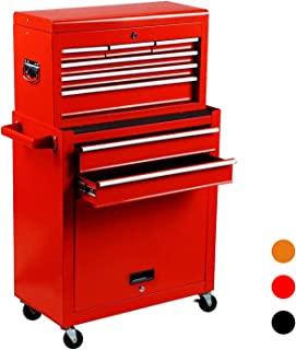 June Win 2Pcs Portable Tool Chest 4-wheels Rolling Tool Storage Box 6-Sliding Drawers&a Key Lockable cabinet Toolbox Removable Tool Box Organizer, Red