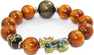 Feng Shui - Braccialetto portafortuna placcato oro, con perline di agata per attirare ricchezza e fortuna