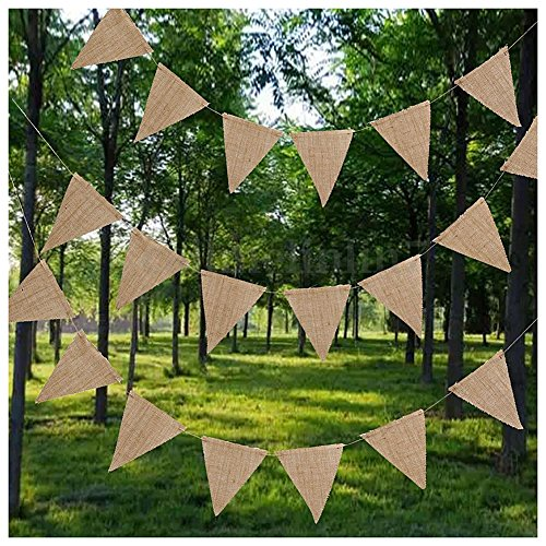 Decorative Decorative - 10m 48 Flags Jute Rustic Hessian Burlap Bunting Banner Flag Party Wedding Decor - Background Event Flag Banner Flag Cloth Fabric Wall Fabric Birthday Pennant Banner Ban