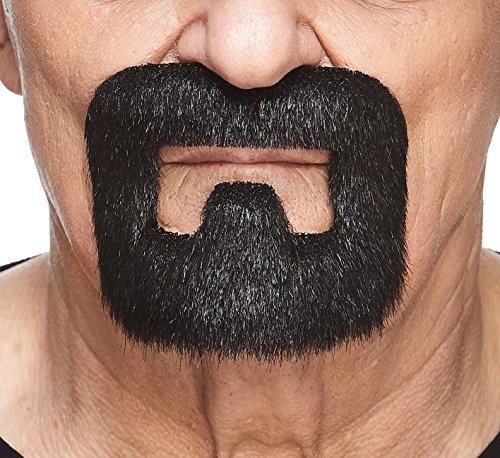 Mustaches Self Adhesive, Novelty, Inmate Fake Beard, False Facial Hair, Costume Accessory for Adults, Black Lustrous Color
