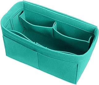 BeiBay Make Up Organizer Insert Bag For Handbag Felt Bag With Zipper Travel Cosmetic Bags34X18X17CmLightgreen