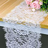 Hxezoc 10 Pack 12 x 120 Inch Lace Table Runner White Classy for Rustic Boho Wedding Bridal Shower Party Decorations Rose Vintage Embroidered Reception Table Runners Supplies