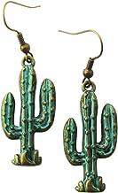 Antiqued Bronze Cactus dangle earrings