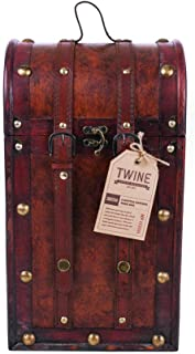 Twine 0308 Chateau Two Bottle Antique Wooden Wine Box, Brown