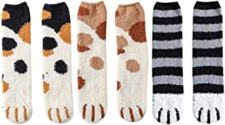 Cat Paw Fuzzy Socks- Cute Kitty Slipper Socks with Paw Prints on Toes- Warm Cozy Fluffy Socks to Daughter, Girls (Style 1)