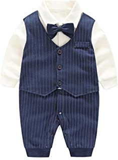 Baby Tuxedo Suits Boys Formal Jumpsuit Gentleman Outfit One-Piece Romper Wedding Outfit