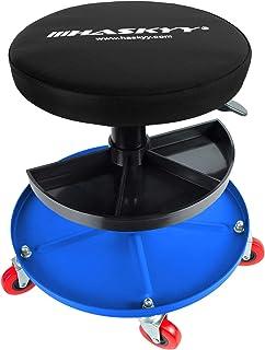 Haskyy Verkstadsstol med justerbar höjd, verkstadspall, verkstadssits, arbetspall-stolsits med 5 hjul | ca ø 40 cm | 2 hyl...