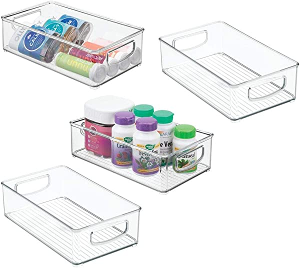 MDesign Stackable Plastic Storage Organizer Container Bin With Handles For Bathroom Holds Vitamins Pills Supplements Essential Oils Medical Supplies First Aid Supplies 3 High 4 Pack Clear