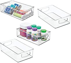 """mDesign Stackable Plastic Storage Organizer Container Bin with Handles for Bathroom - Holds Vitamins, Pills, Supplements, Essential Oils, Medical Supplies, First Aid Supplies - 3"""" High, 4 Pack - Clear"""