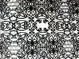 Weiß Tüll mit Schwarz Samt Beflockung Stoff 152,4cm