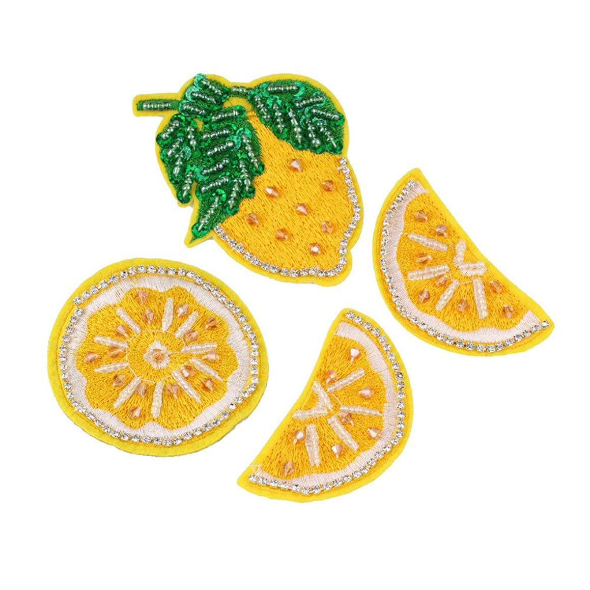 Rhinestone Fruit Lemon Beaded Patch for Clothing Sewing on Beading Applique Clothes Shoes Bags Socks Hats Decoration Patch DIY Apparel 4 Pcs