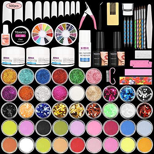 Nail Art Ongles Kit,Kit Acrylique pour Pointes en Acrylique,42 in 1 Nail Acrylic Powder for Beginner,DIY Decoration Acrylic Nails Starter Kit