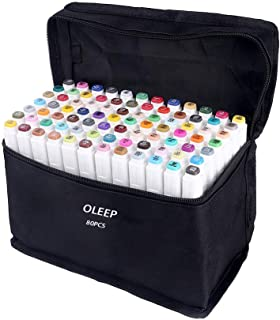OLEEP 80 Colores Art Markers Rotulador permanente de graffiti con doble punta, para dibujar bocetos de arte, pintar, colorear y subrayar