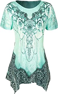 Suncolor8 Women Print Short Sleeve Casual Relaxed Fit Irregular Hem Blouse T-Shirt Top