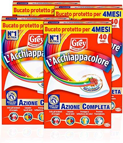 Grey L'Acchiappacolore Fogli Cattura Colore Evita Incidenti Lavaggio, Foglietti Acchiappacolore e Anti Sporco, Confezione da 4 x 40 Fogli