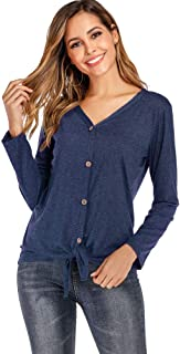 Button Down Shirts for Women Tie Knot Blouse Long Sleeve Cardigan