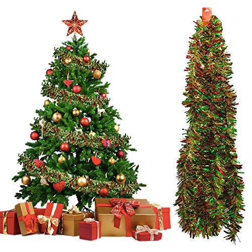 PERFETSELL Weihnachtsbaum Lametta Girlande Weihnachten Tannenbaum Girlanden 10M Lang Weihnachtslametta Metallische Christbaum Lamettagirlande Glitzernde Hängende Dekoration Weihnachtsbaum Kranz