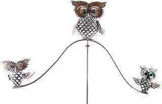 OSW Owl Metal Yard Art Garden Stake Wind Balancer, 52.5 Inch Tall Balancing Yard Sculpture