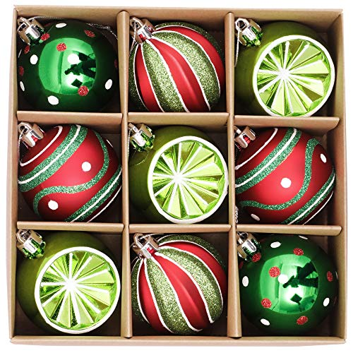 Valery Madelyn Palle di Natale 9 Pezzi 6cm Palle di Natale, Classic Collection Red Green And White Shatterproof Christmas Ball Ornaments Decoration for Christmas Tree Decor