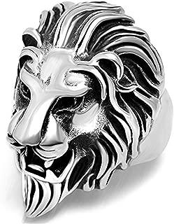 316L Titanium Steel Vintage Big Lion Head Punk Rock Gothic Ring Mens Biker Personalized Cool White Band