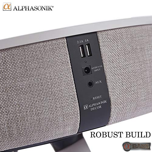 Alphasonik Decor Modern Home Portable Bluetooth Speaker 360 Surround HD Sound with 10 Speakers Drivers Built-in QI Wireless Charger Dual USB Aux Inputs End Table Coffee Table Night Stand White