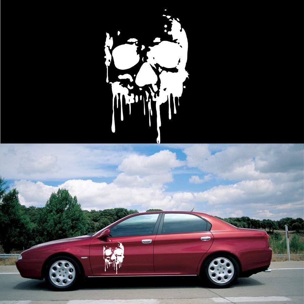 Bloody Skull Motorhaube Aufkleber Folie Fenster Sto/ßstange PET Sticker Selbstklebend Wasserdicht Universal Auto-Dekor 1 St/ück Orange 49x70cm