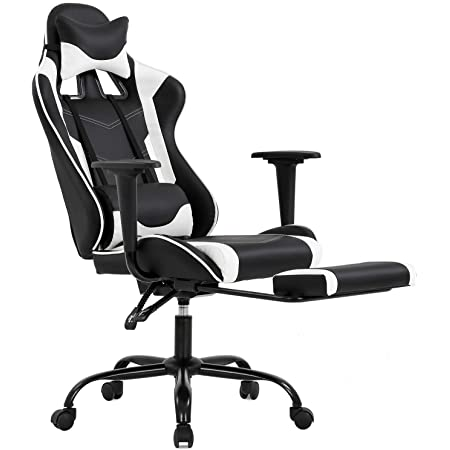 Supports up to 250lbs Black VON RACER Ergonomic Gaming Chair with Retractible Footrest High Back PC Racing Seat Computer Desk Swivel Office Chair with Lumbar Support and Adjustable Height /& Armrests