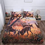 Goodidea Great Outdoor Deer Duvet Cover Set Hunting Wild Animal Autumn Camo Decorative Bedding Quilt Cover Pillowcase Set Soft Breathable King Size