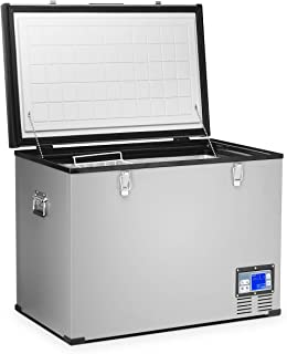 COSTWAY Car Freezer, 121.5 Quart Compressor Travel Refrigerator -0.4°F to 50°F, Single Door Vehicle Fridge, Refrigerator with LCD Display & Lighting Bulbs, For Car, Home, Camping, Truck (121.5 Quart)