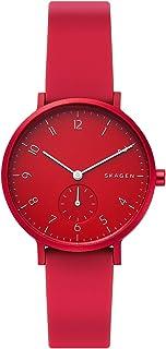 Skagen Aaren Women's Red Dial Silicone Analog Watch - SKW2765