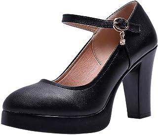comprar comparacion Luckycat Zapatos de tacón Ancho Altas Vestir Noche Chic para Mujer Otoño Calzado de Cuña Dama Sólido Negras Moda Calzado d...
