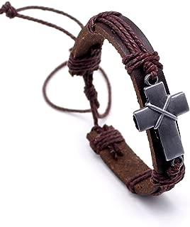 Vintage Criss Cross Leather Bracelet Religious Christian Wrap Bangle Adjustable