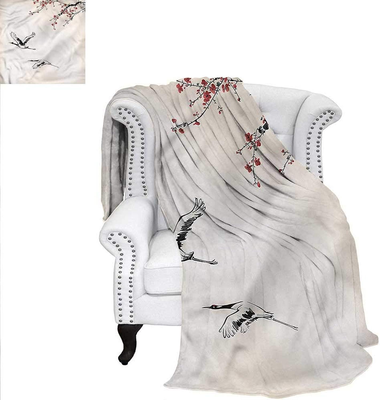 RenteriaDecor Birds Blanket Winter Season Japanese Cranes Blanket 60 x50