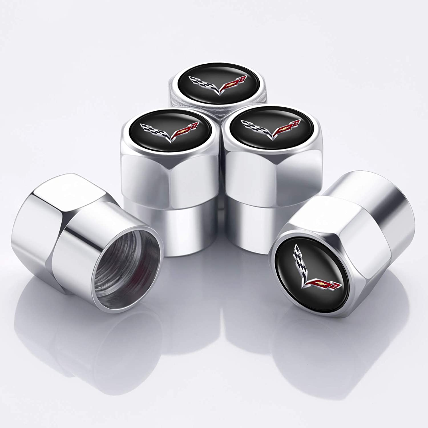 PATWAY 5 Pcs Metal Car Wheel Tire Valve Stem Caps for Lincoln Navigator TownCar Continental MKZ MKX MKC Logo Styling Decoration Accessories.