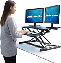 "JENOSWEIN Height Adjustable Standing Desk for Dual Monitor 32"" Wide Sit to Stand Desk Converter with Removable Keyboard Tray"