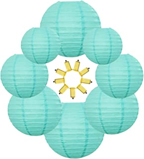 Neo LOONS Turquoise Blue Round Chinese/Japanese Paper Lanterns Metal Framed Hanging Lanterns with White LED lights-- Assorted Sizes--Wedding/Christmas/Ceiling Party Supplies Favors Hanging Deco