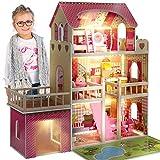 Kinderplay Puppenhaus Puppenvilla Puppen Haus - Barbiehaus Traumhaus Holz Puppenstube, Led-Licht Zubehör Set Garage, Terrasse Groß, GS0020