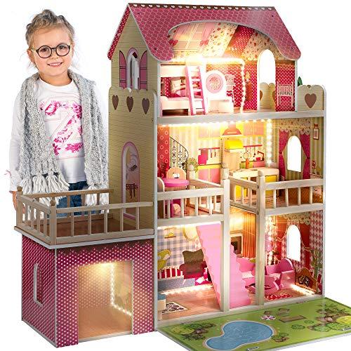 Kinderplay Casa delle Bambole - Grande Casa Legno per Bambole di 90cm con 17 Accessori Inclusi e 3 Livelli di Gioco Plus Garage, Alta 90 cm, Multicolore GS0020