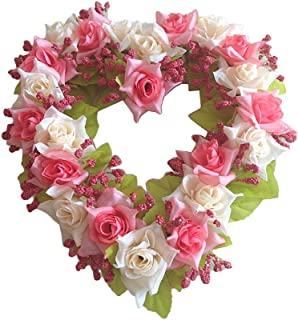 GUFIKY Simulation Rose Flowers Wreath Vintage Art Pink Heart-Shaped Garland for Home Wedding Decoration