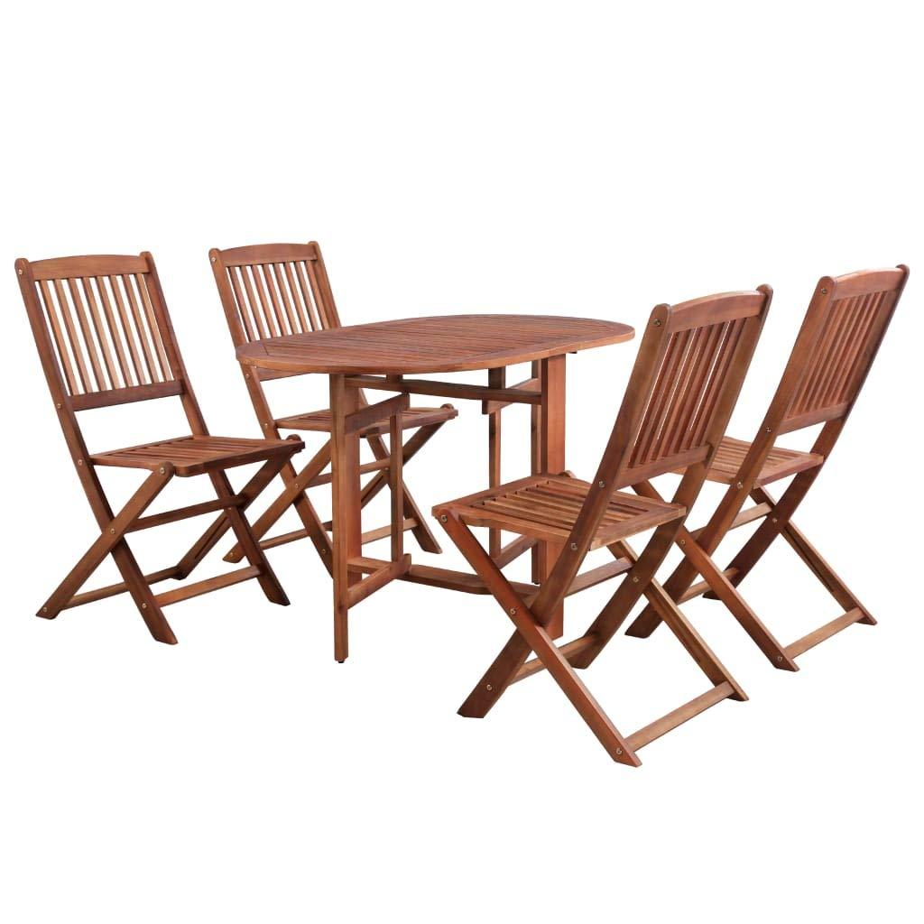 vidaXL Acacia Conjunto Muebles Jardín Plegable Madera Marrón Set Mesa 4 Sillas: Amazon.es: Hogar