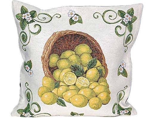 Hossner Kissenbezug Lemon Mediterran Gobelin Provence Heimtextilien Zitrone (Kissenhülle 45 x 45 cm)