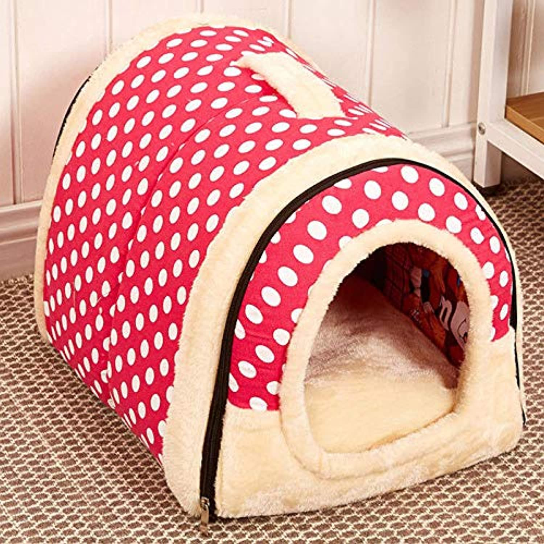 FidgetFidget Pad Bed Cozy Cushion Dual use Pet Dog Cat Bed House Portable Puppy Dog Cave Nest Pink Dots L