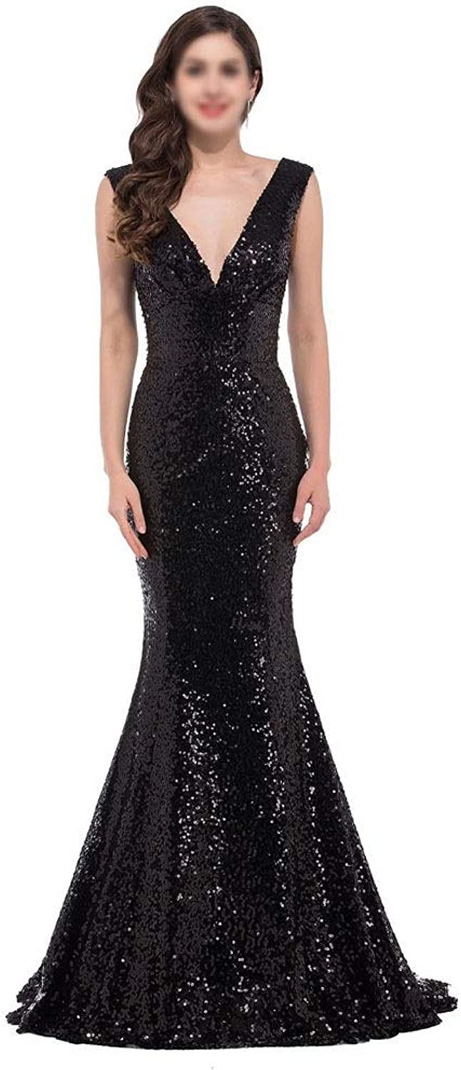 YUKILO Women's Sequin Mermaid Formal Long Gown Party Wedding Dress